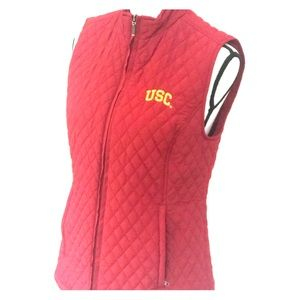 USC quilted team vest Fight On! Go Trojans